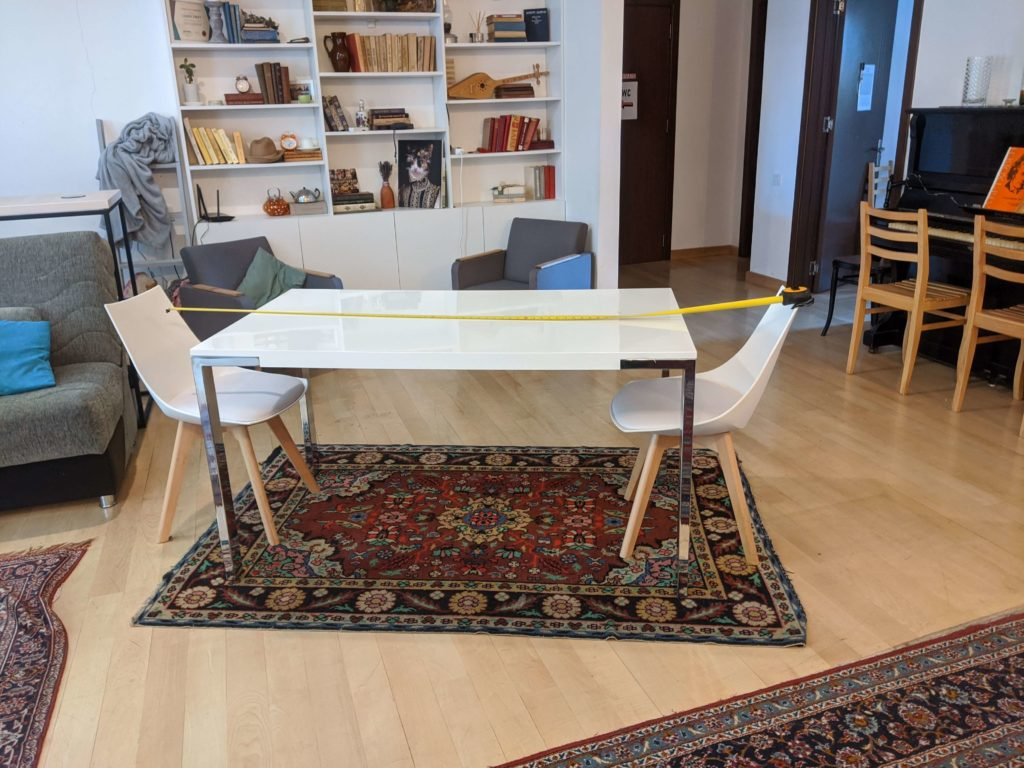 Desks at the recommended social distance for Reopening LOKAL Tbilisi CoWork